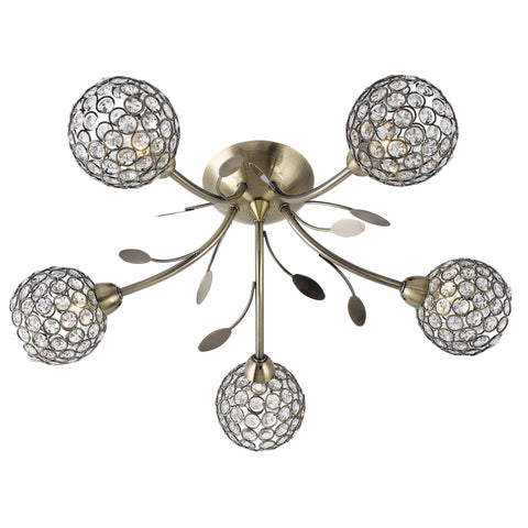 BELLIS II - 5 LIGHT CEILING SEMI-FLUSH, ANTIQUE BRASS, CLEAR GLASS DECO SHADE