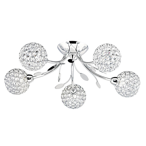 BELLIS II - 5 LIGHT CEILING SEMI-FLUSH, CHROME, CLEAR GLASS DECO SHADE