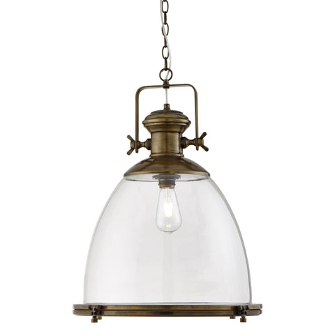 RITZ INDUSTRIAL PENDANT LARGE 1 LIGHTT , PAINTED ANTIQUE BRASS, CLEAR GLASS