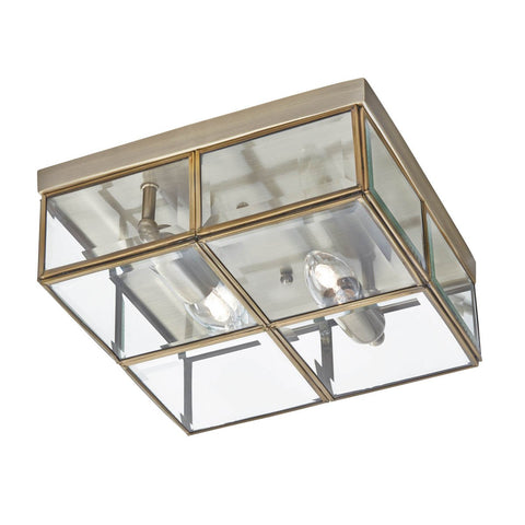 FLUSH - 2 LIGHT FLUSH BOX, ANTIQUE BRASS WITH CLEAR BEVELLED GLASS PANELS