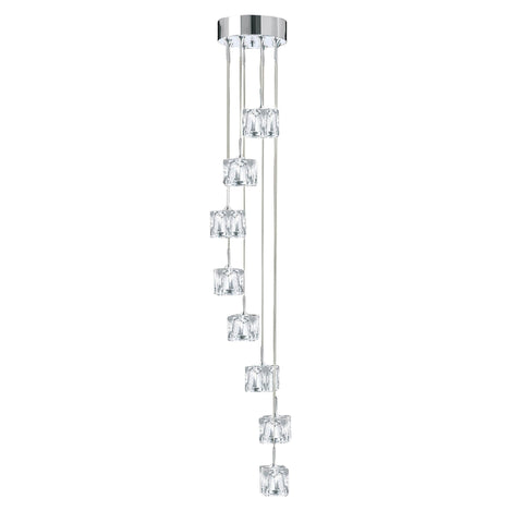 ICE CUBE - LED 8 LIGHT MULTI-DROP, CLEAR GLASS SHADES, CHROME