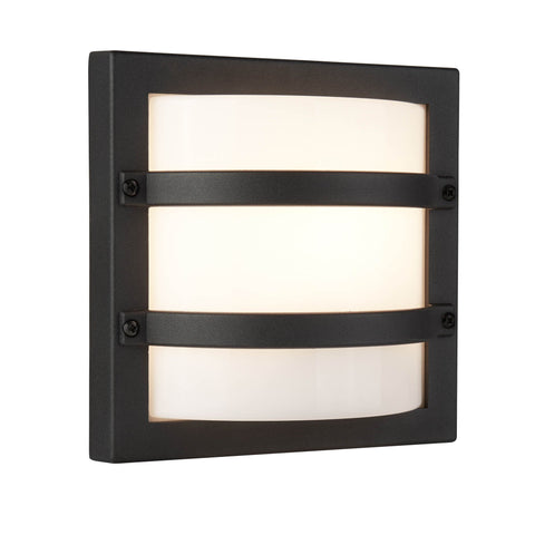 OUTDOOR 1 LIGHT CURVED, DARK GREY, OPAL WHITE SHADE DIFFUSER WALL BRACKET