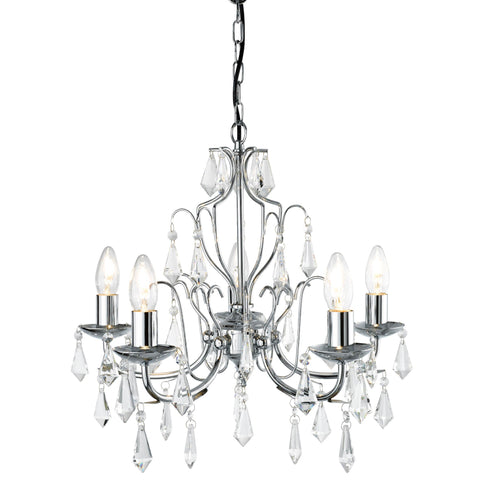 MARTINA 5 LIGHT MODERN CHROME CHANDELIER CW CRYSTAL