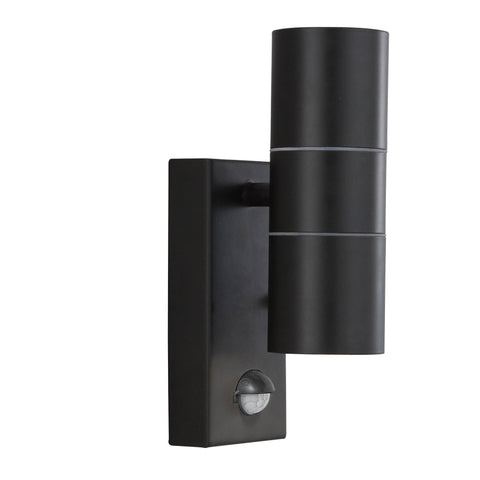 OUTDOOR & PORCH (GU10 LED)WALL  LIGHT - 2 LIGHT BLACK+SENSOR TUBE