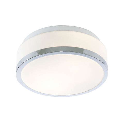DISCS BATHROOM - IP44 2 LIGHT FLUSH, OPAL WHITE GLASS SHADE WITH CHROME TRIM DIA 23CM