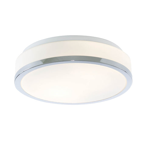 DISCS BATHROOM - IP44 2 LIGHT FLUSH, OPAL WHITE GLASS SHADE WITH CHROME TRIM DIA 28CM