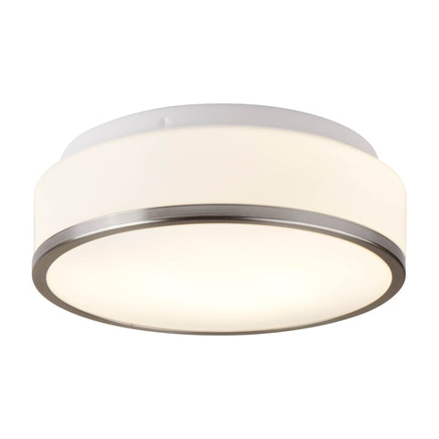 DISCS BATHROOM - IP44 2 LIGHT FLUSH, OPAL WHITE GLASS SHADE WITH SATIN SILVER TRIM DIA 28CM