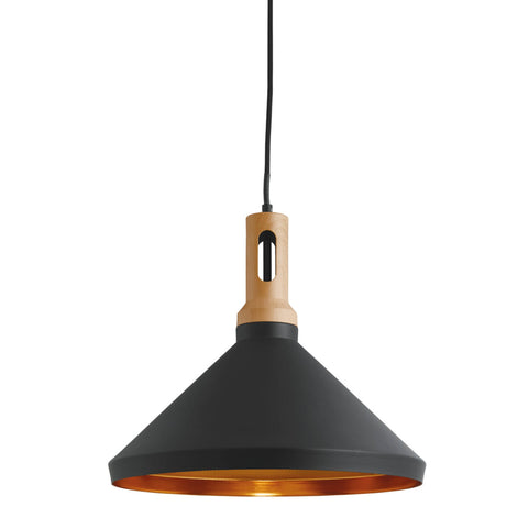 PENDANT ,1 LIGHT CONE, GOLD INNER, BLACK OUTER, WOOD EFFECT CAP