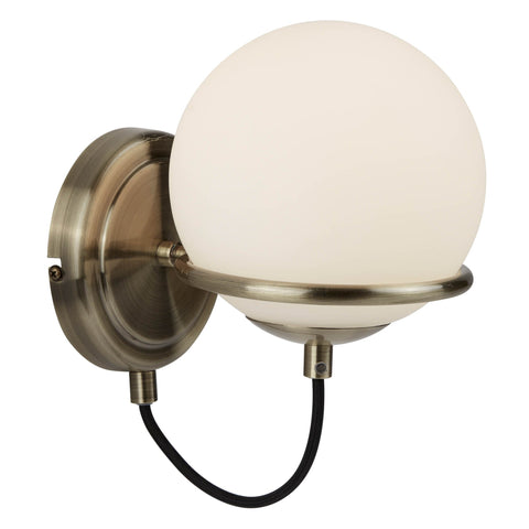 SPHERE 1 LIGHT WALL BRACKET, ANTIQUE BRASS, BLACK BRAIDED CABLE, OPAL WHITE GLASS SHADES