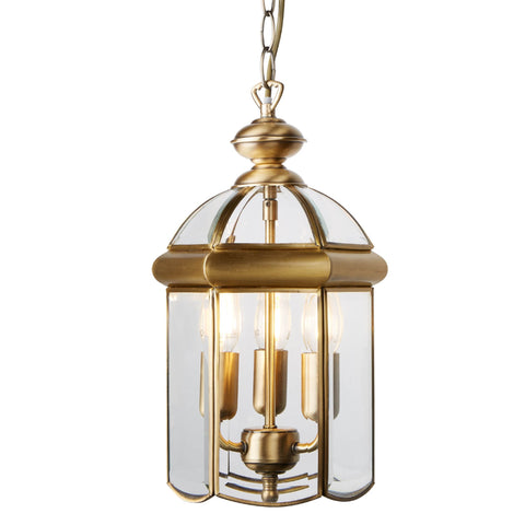 LANTERN ANTIQUE BRASS BEVELLED GLASS DOMED 3 LIGHT