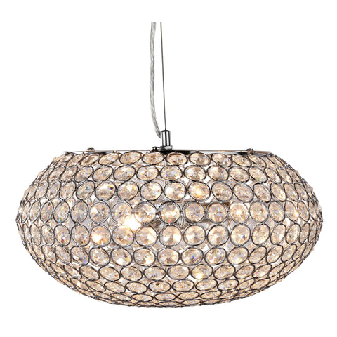 CHANTILLY  - 3 LIGHT CEILING PENDANT, CHROME WITH CLEAR CRYSTAL BUTTONS INSERTS