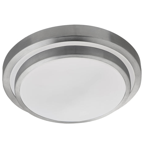 LED BATHROOM IP44 2 TIER FLUSH, ALUMINIUM TRIM, WHITE SHADE