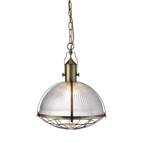 INDUSTRIAL PENDANT 1 LIGHT - ANTIQUE BRASS & CLEAR GLASS