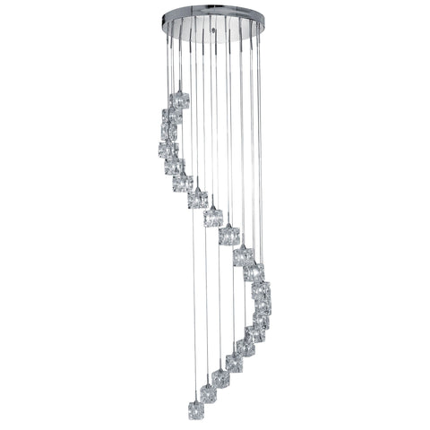 ICE CUBE - LED 20 LIGHT MU LIGHTI-DROP (HEIGHT 3m), CLEAR GLASS, CHROME
