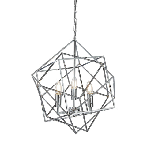 CUBE 3 LIGHT PENDANT, GEOMETRIC CUBE FRAME, CHROME