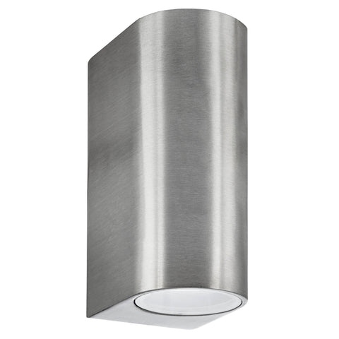 OUTDOOR & PORCH (GU10 LED) IP44 WALL LIGHT 2 LIGHT SILVER