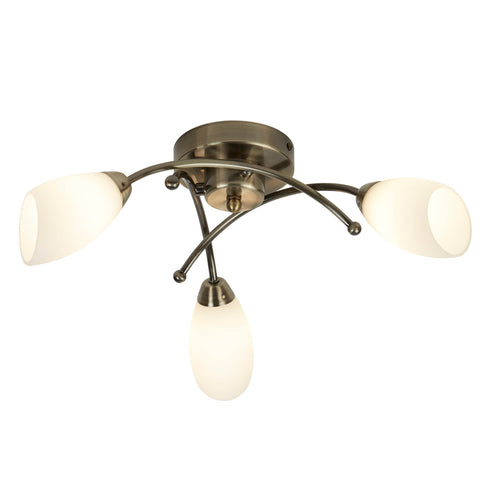 OPERA 3 LIGHT ANTIQUE BRASS FLUSH WITH OPAL GLASS