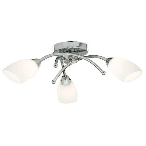 OPERA 3 LIGHT CHROME FLUSH WITH OPAL GLASS