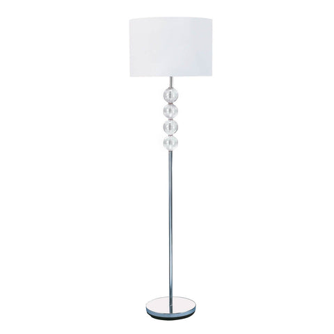 FLOOR LAMP - CHROME/GLASS CW WHITE SHADE