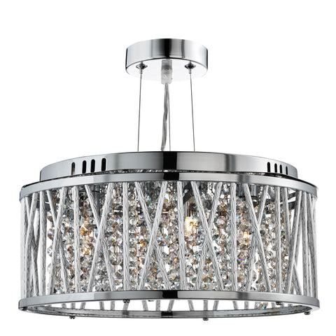 ELISE 3 LIGHT CEILING FLUSH/PENDANT, CHROME, CLEAR CRYSTAL BUTTON DROPS, ALUMINIUM TUBES TRIM