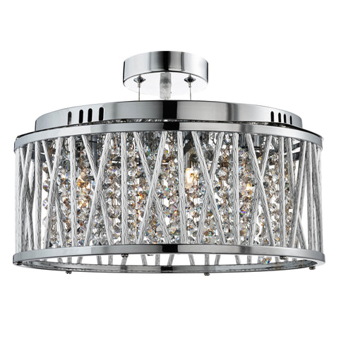 ELISE 5 LIGHT CEILING FLUSH/PENDANT, CHROME, CLEAR CRYSTAL BUTTON DROPS, ALUMINIUM TUBES TRIM