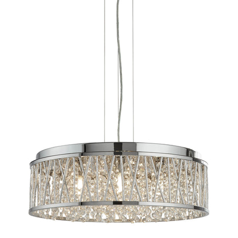 ELISE 7 LIGHT CEILING FLUSH/PENDANT, CHROME, CLEAR CRYSTAL DROPS, ALUMINIUM TUBES TRIM