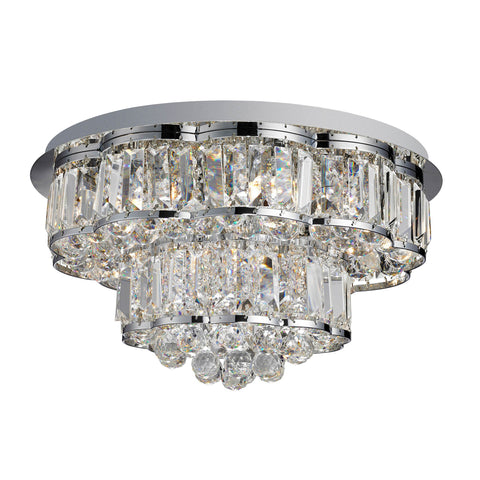HAYLEY 6 LIGHT CEILING FLUSH, CHROME, CLEARL CRYSTAL BALLS DROPS