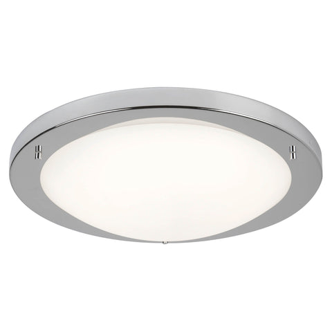 SATIN SILVER LED FLUSH FITTING, OPAL GLASS, 20W