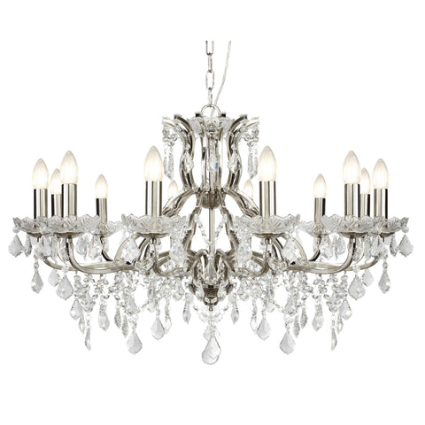 PARIS 12 LIGHT CHANDELIER, CLEAR CRYSTAL DROPS & TRIM, SATIN SILVER