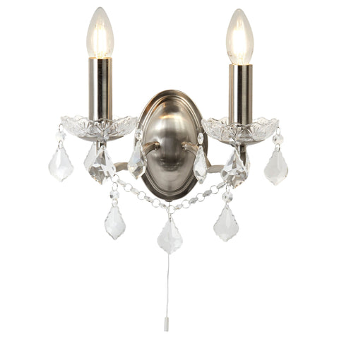 PARIS 2 LIGHT WALL BRACKET, CLEAR CRYSTAL DROPS & TRIM, SATIN SILVER