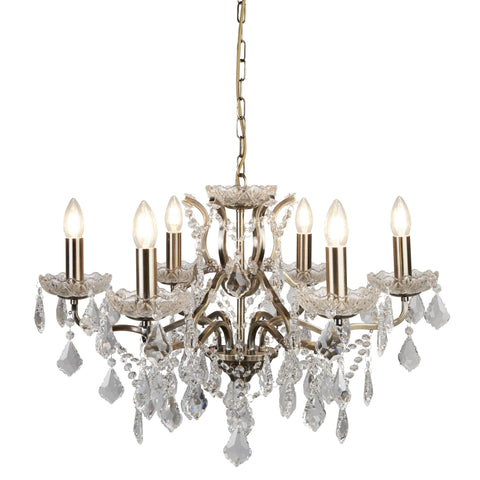 PARIS 6 LIGHT CHANDELIER, CLEAR CRYSTAL DROPS & TRIM, ANTIQUE BRASS