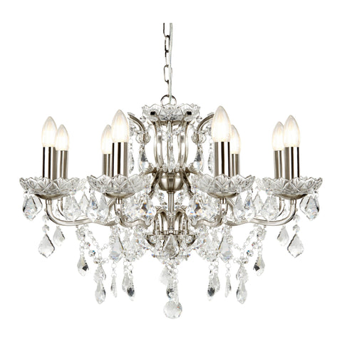 PARIS 8 LIGHT CHANDELIER, CLEAR CRYSTAL DROPS & TRIM, SATIN SILVER