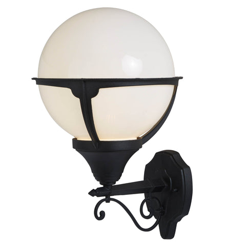 ORB OUTDOOR 1 LIGHT WALL LIGHT, BLACK/ROUND OPAL SHADE