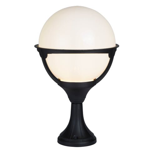 ORB OUTDOOR 1 LIGHT POST, BLACK/ROUND OPAL SHADE