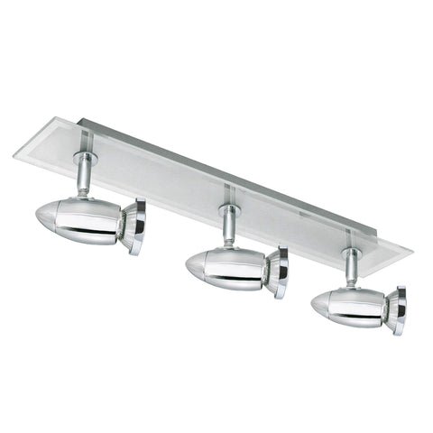 SATURN 3 LIGHT CHROME BAR SPOTLIGHT GLASS BACKPLATE