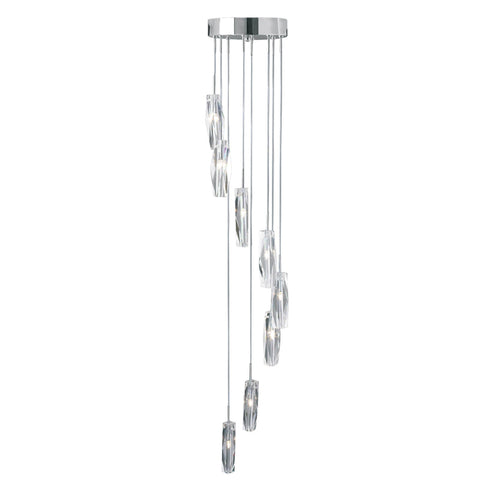 SCULPTURED ICE - 8 LIGHT CEILING MULTI-DROP, CHROME, CLEAR K9 GLASS