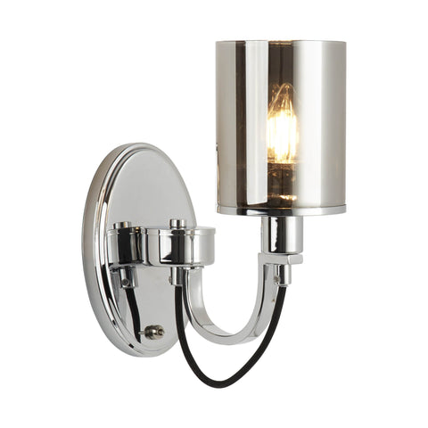 CATALINA 1 LIGHT WALL BRACKET, CHROME, BLACK BRAIDED CABLE, SMOKED GLASS SHADES