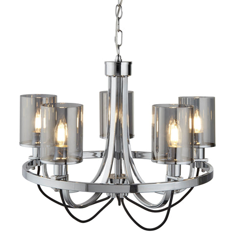 CATALINA 5 LIGHT CEILING, CHROME, BLACK BRAIDED CABLE, SMOKED GLASS SHADES