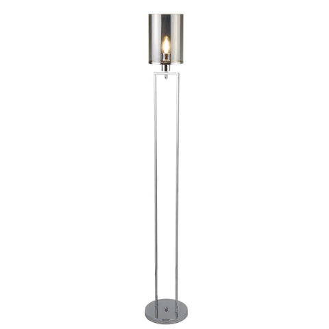 CATALINA 1 LIGHT FLOOR LAMP, CHROME, SMOKED GLASS SHADES