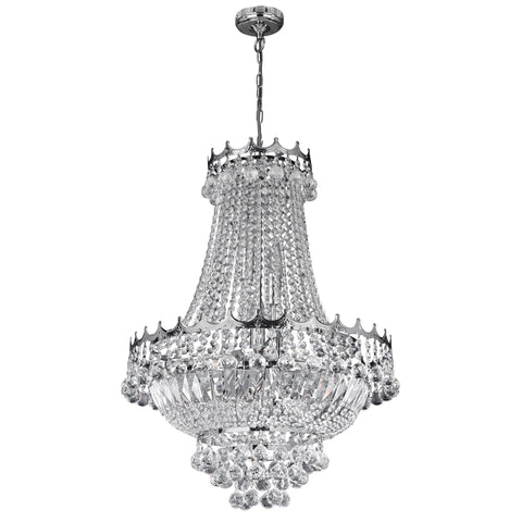 VERSAILLES -  9 LIGHT 52CM CHROME CHANDELIER CW CRYSTAL