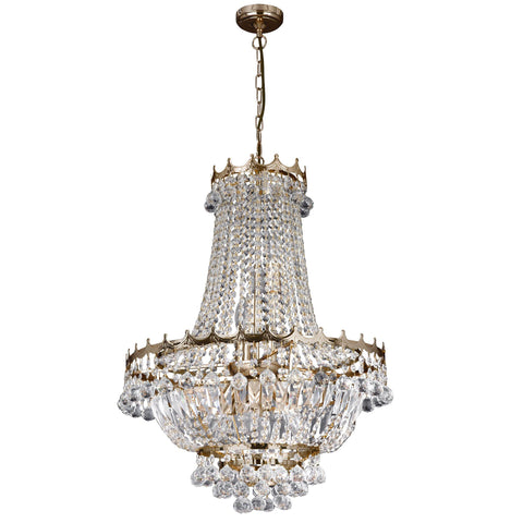 VERSAILLES  - 9 LIGHT 52CM GOLD PLATED CRYSTAL CHANDELIER