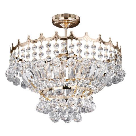 VERSAILLES  - 5 LIGHT 39CM GP CRYSTAL CHANDELIER