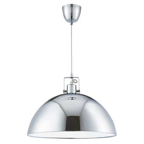 INDUSTRIAL PENDANT, 1 LIGHT CHROME DOME