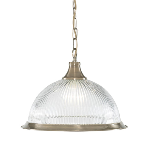 AMERICAN DINER - 1 LIGHT PENDANT, ANTIQUE BRASS, CLEAR GLASS