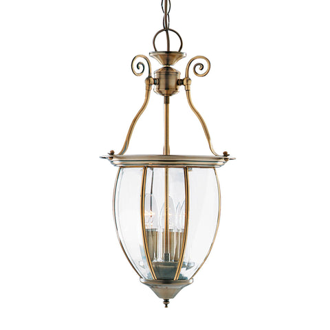 LANTERN BOWED BEVELLED GLASS 3 LIGHT ANTIQUE BRASS