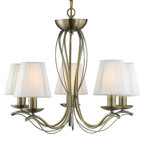 ANDRETTI - 5 LIGHT CEILING, ANTIQUE BRASS, CREAM STRING SHADES