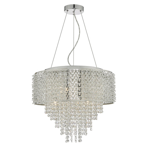 Acelynn 6 Light Pendant Polished Chrome & Crystal