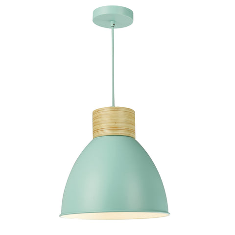 Adna 1 Light Pendant Green And Natural Wood