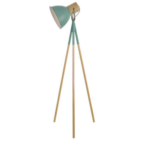 Adna Floor Lamp Green And Natural Wood
