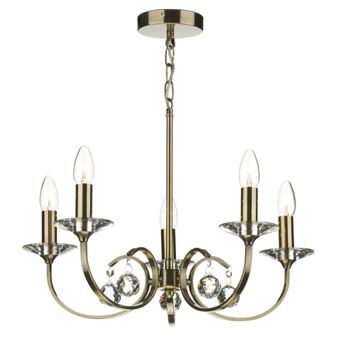 Allegra 5 Light Dual Mount Pendant Antique Brass